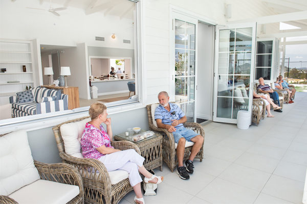Visitors enjoy the relaxed setting of the Summer House at Seachange